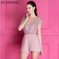 FICUSRONG 2018 New Sexy Lace Backless Jumpsuit Romper Women Pink Jumpsuit Casual Beach Summer Hollow Slim