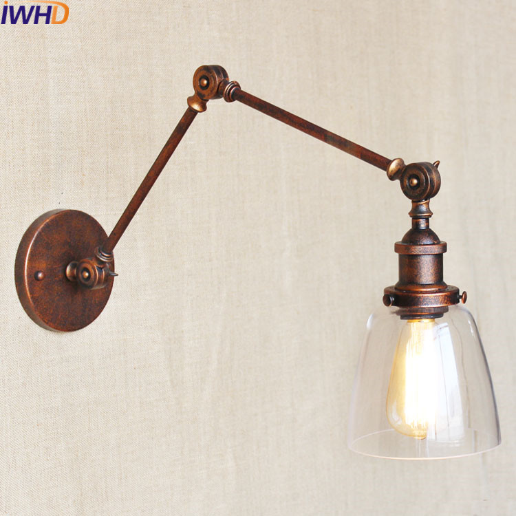 Wrought Iron Vintage Wall Lamp Swing Long Arm Sconce Bathroom Light Home Lighting Fixtures Applique murale luminaire moderne top grade wood handcrafted swing arm light sconce led wall lamp nordic style home decoration lighting e27 black with switch