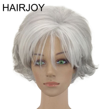цена на HAIRJOY Women 2 Tones Synthetic Short Layered Curly Hair Puffy Natural Silver Grey Wig With Bangs  Free Shipping