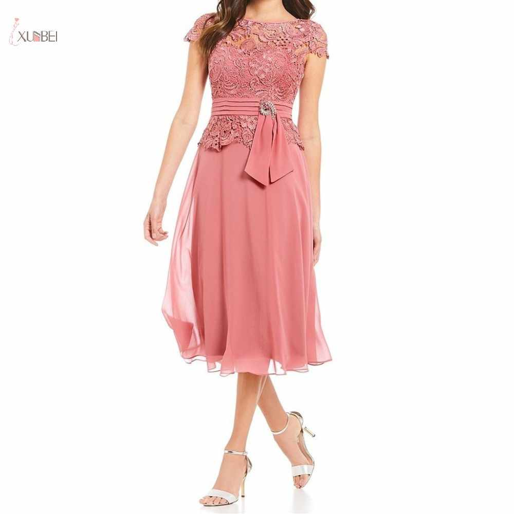 Vestidos cortos de chifón de Madre de la novia 2019 A línea cuello redondo manga de la gorra de fiesta de boda vestido Midi madrina de boda