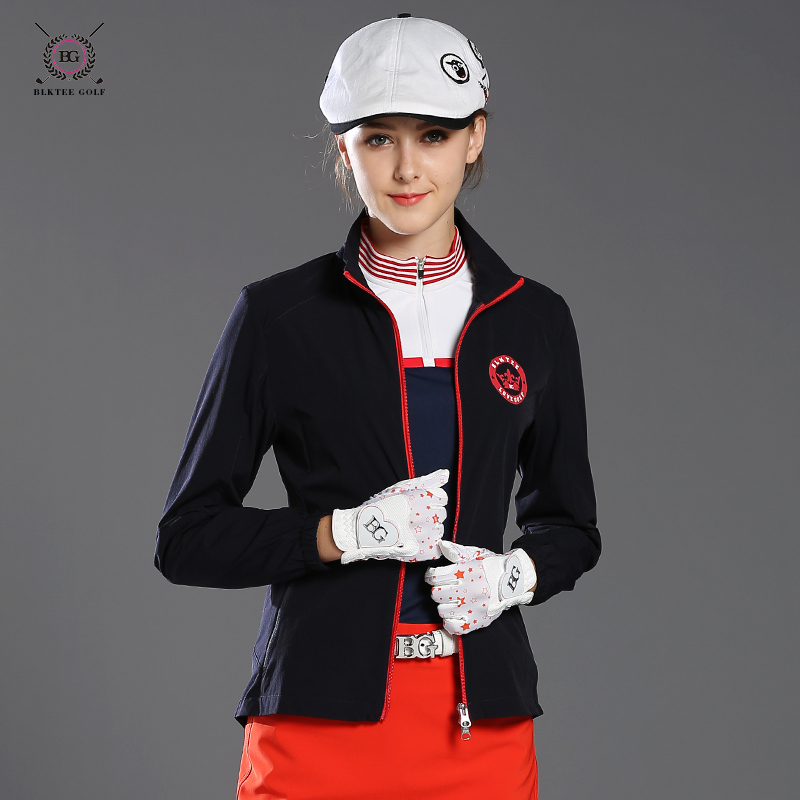 Lady golf thin coat for spring or autumn outwear sports jacket women portable golf apparel slim trench Women white top jersey simulation mini golf course display toy set with golf club ball flag