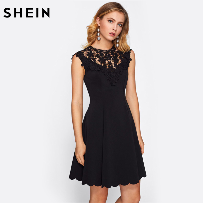 25c5e5da9c SHEIN Guipure Lace Yoke Scallop Hem Flare Dress Black Sleeveless Round Neck  Elegant A Line Dress Sexy Woman Dresses-in Dresses from Women's Clothing on  ...