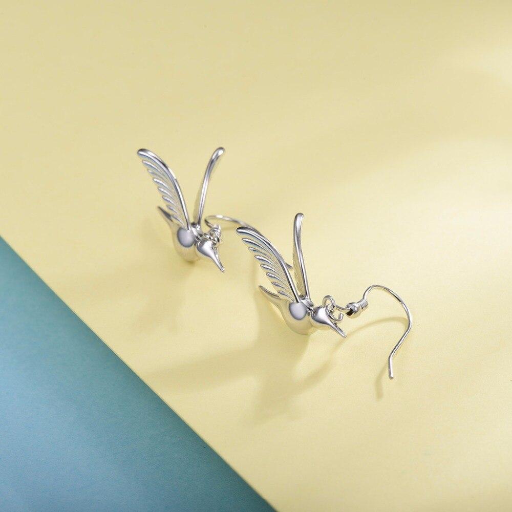 U7 925 Sterling Silver Dangle Bird/Hummingbird Drop Earring 2018 Valentines Day Gift For Women New Animal Jewelry Earrings SC30