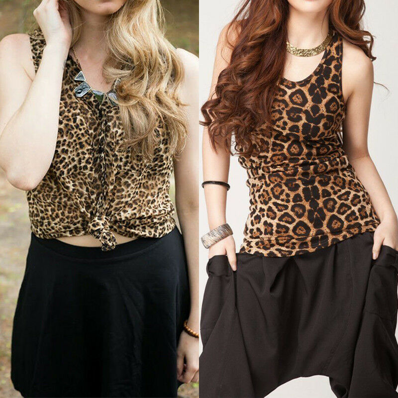 Fashion Women Sexy V Neck Leopard Print Camisole Tank Vest Blouse Top