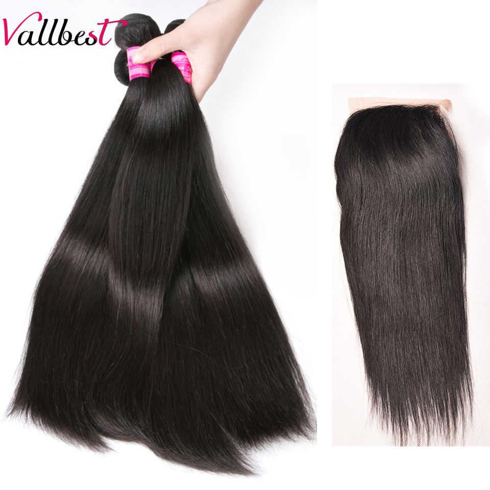 Vallbest перуанские прямые человеческие волосы пучки с закрытием 3 пучка с 4X4 бесплатная Часть Кружева Закрытие Remy человеческие волосы для наращивания