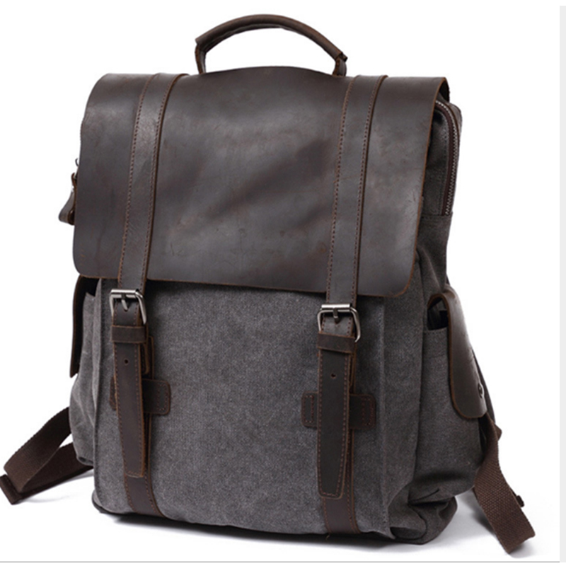 XIYUAN Fashion Backpack Leather Canvas Men Backpack School Bag Military Backpack Women Rucksack Male Knapsack Bagpack MochilaXIYUAN Fashion Backpack Leather Canvas Men Backpack School Bag Military Backpack Women Rucksack Male Knapsack Bagpack Mochila