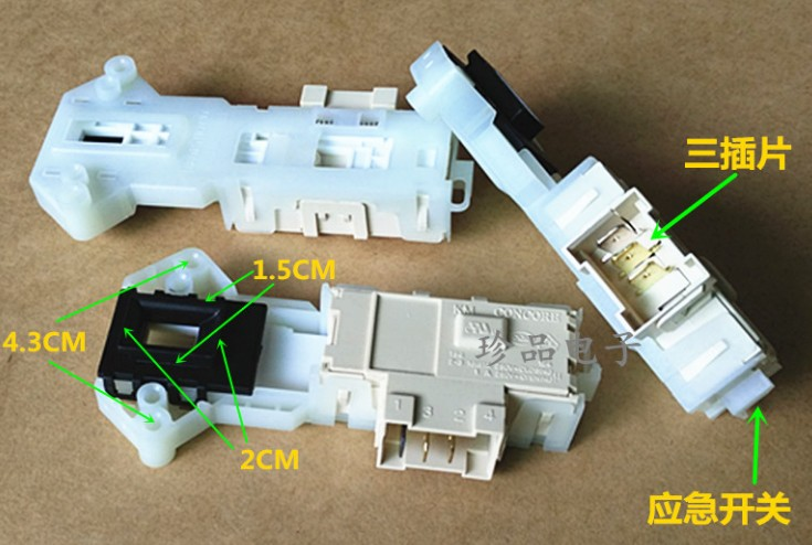 купить 1pc washing machine parts time delay switch door 6601EN1003B WD-N80105 T10175 3 plug door lock for LG по цене 951.29 рублей