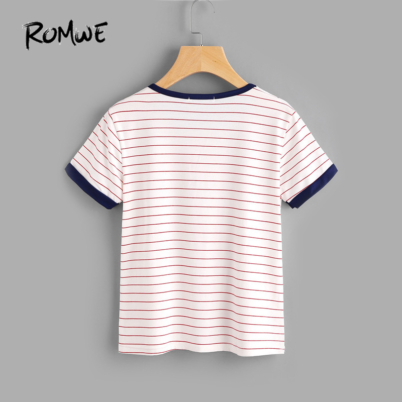 ecf104556c ROMWE T shirts Women 2019 Summer Casual Women T shirt Top Ladies Short  Sleeve Round Neck Striped Ringer Tee Shirt-in T-Shirts from Women's  Clothing on ...