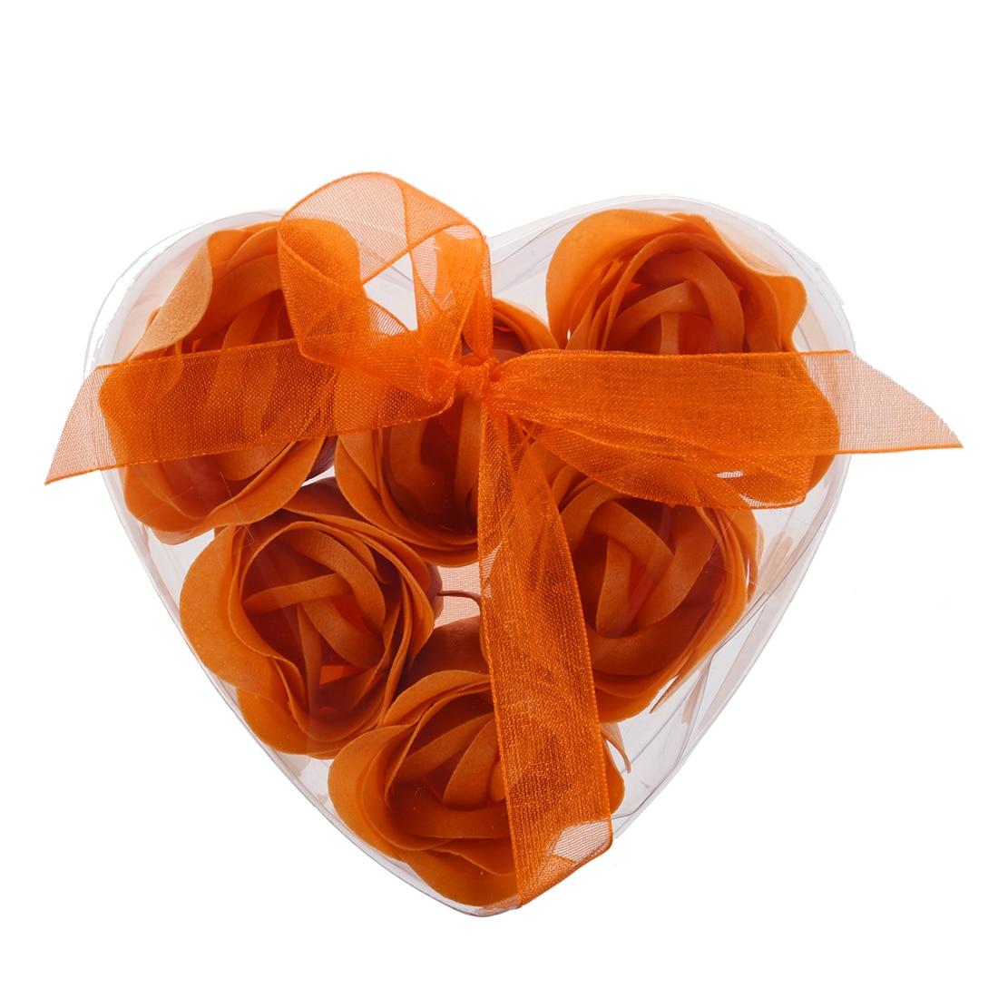 New 6 Pcs Rose Flower Scented Bath Soap Petals Orange W Heart Shape Box