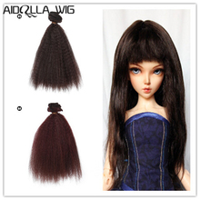 AIDOLLA 15cm high temperature fiber doll hair Extensions for 1/3 1/4 1/6 BJD DIY curly doll wigs Doll Accessories russian handmade doll hair 20 cm high temperature wavy hair for 1 3 1 4 1 6 bjd diy curly doll wigs tree