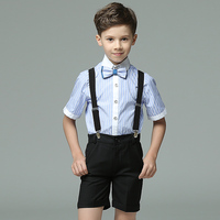 Toddler Boy Blue/Black 4pcs/set Short Sleeve Summer Birthday Strap Bowtie Formal Show/Performance/Groom Wedding Blazers
