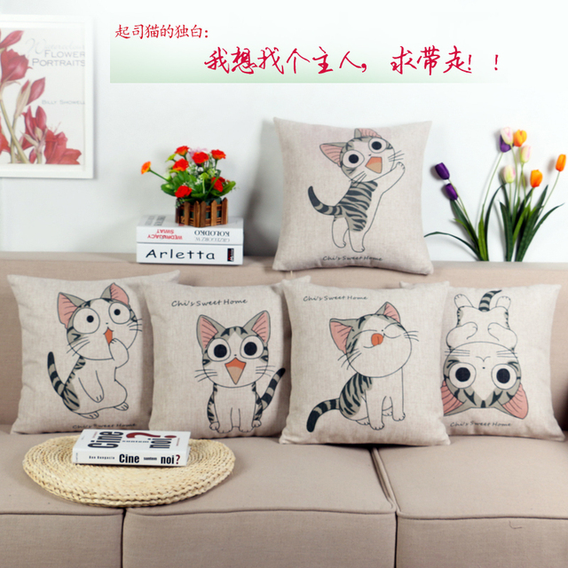 Promotions Cute Cartoon Sofa Back Cushion Pillow Cheese Cat Car Seat