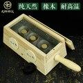 Oak three pillars moxibustion box portable moxibustion solid wood 3 hole Ai smoked device
