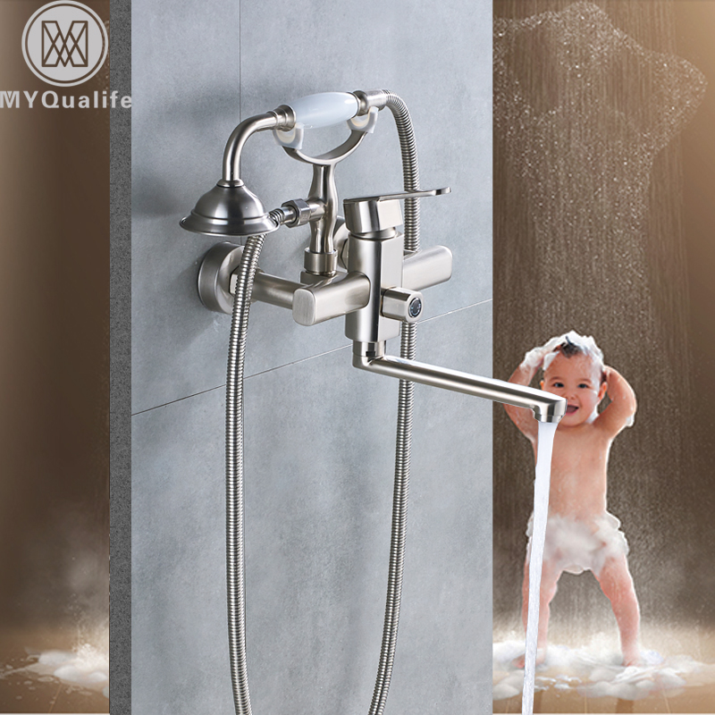 Brushed Nickel Long Nose Bath Tub Faucet Wall Mounted Tub Sink Mixers One Handle 360 Rotate Scan Bathtub Hot and Cold Taps lx h30 rs1 3kw hot tub spa bathtub heater