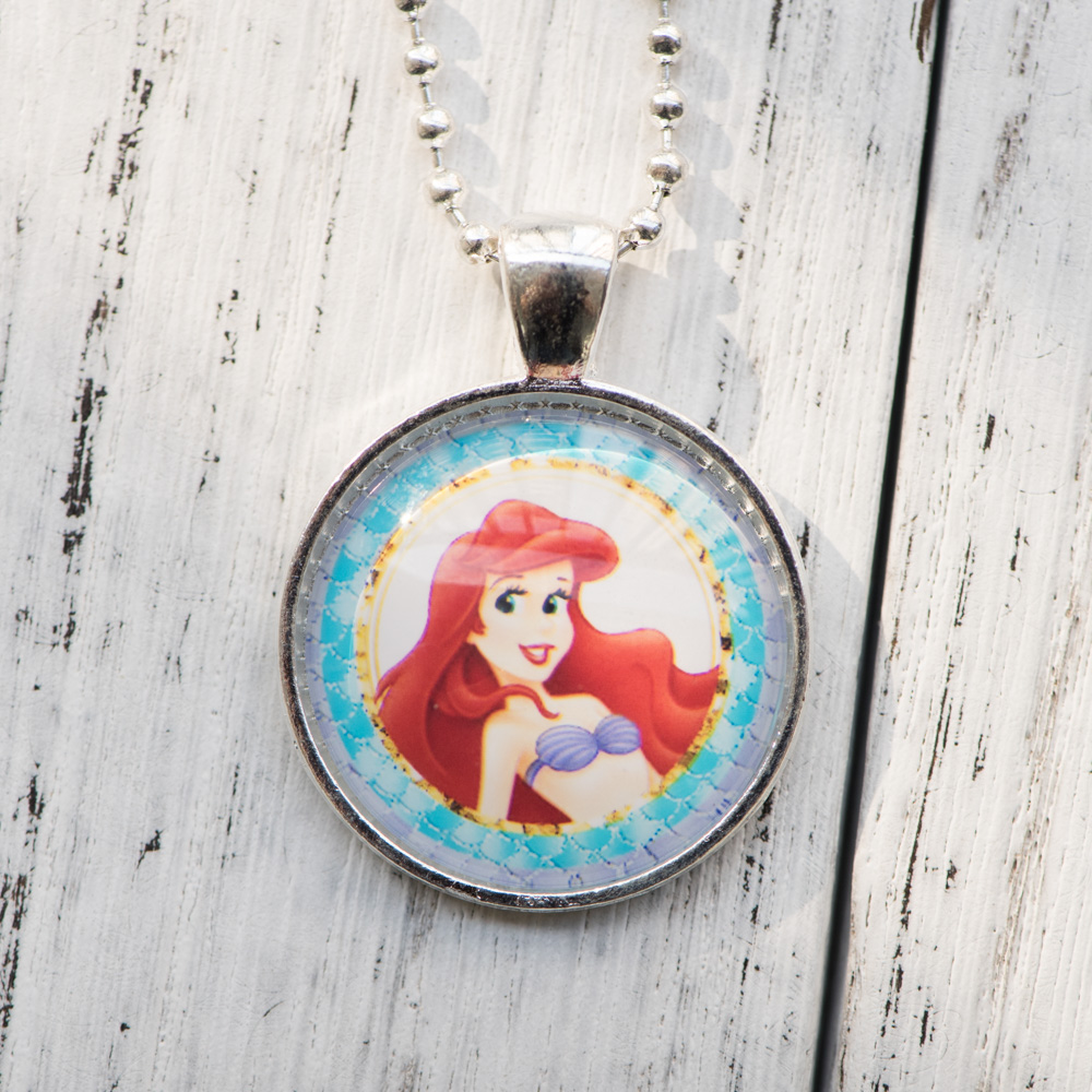 Cabochon Necklace Princess Ariel The Little Mermaid Pendant Glass Cabochon Necklace Handmade Women Jewelry Birthday Party Gifts