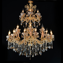 Large Gold Crystal Chandelier Lighting Big Cristal Lustres Light Fixture Chandelier Crystal for Hotel Project MD2117 30 48 arms church large led chandeliers lustres de cristal hotel long gold champagne crystal chandelier lamp shade led fixture