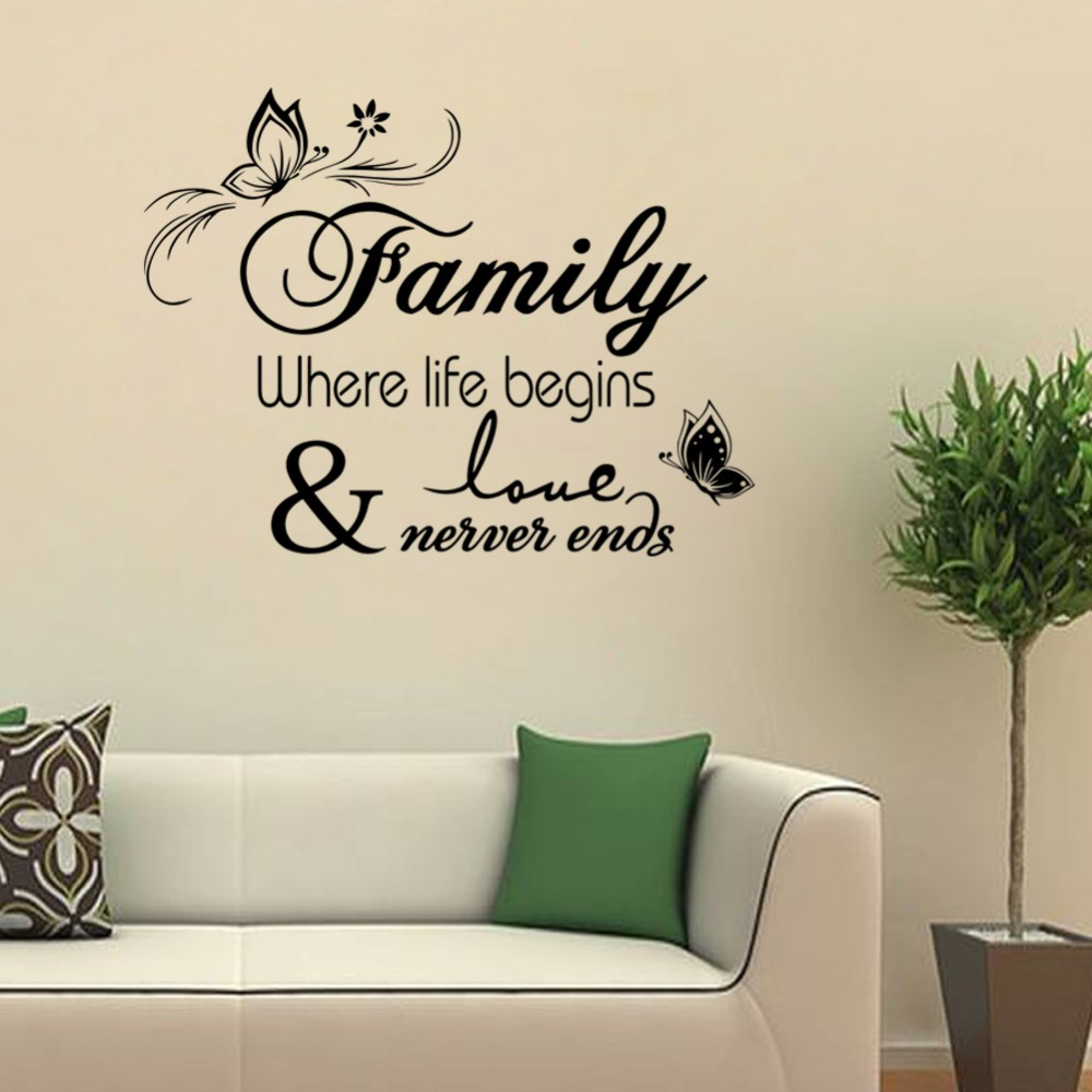 U0026% Family Where Life Begins Wall Stickers Kids Room Living Room Bedroom  Home Decor 3d Vinyl Diy Wall Decal Removeable Wallpaper In Wall Stickers  From Home ... Part 59