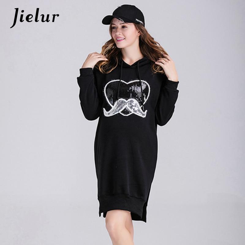 Jielur Europe Winter Leisure Black Velvet Hoodies for Women Hooded Sequined Love Pattern Female Sweatshirt Long Pullover Vestido