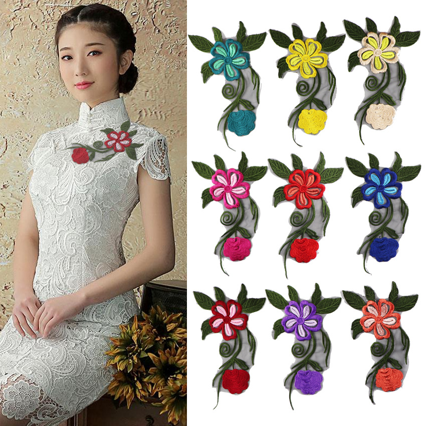 Garment Accessories Embroidery Lace Three-dimensional Cloth Embroidered Chapter Wedding Dress Embroidery Paste Hot Melting Peony