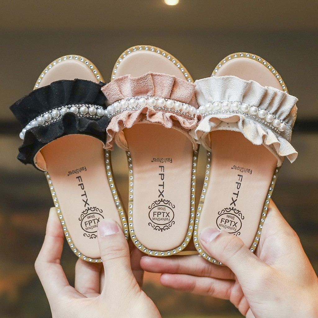 Toddler Kids Baby Girls Pearls Crystal Ruffles Princess Shoes Sandals Slippers Crystal Single Princess Roman For Children Girl