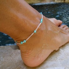2016 New Hot Girl Handmade Ankle Bracelet Bead Chain Anklet Foot Leg Chain Bracelet Foot Jewelry Turquoise beads Anklets