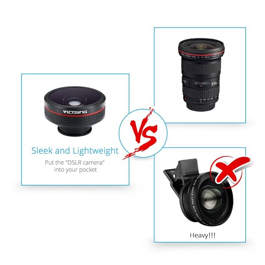 VICTSING Clip-on 3 in 1 Camera Phone Lens Kit Fisheye Lens + 12X Macro + 24X Super Macro Lens for iPhone 6s 6 Plus etc Cellphone 15