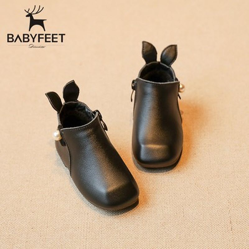 babyfeet 2017 Winter solid leather warm baby rabbit shoes Warm velvet toddler princess  children shoes 0-2 years old girls boots kids shoes girls winter diamond bow toddler pu shoes children trainers baby shoes infantil princess warm shoes chaussure enfant