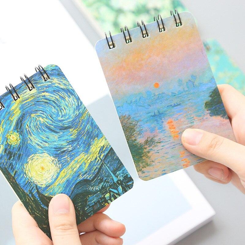 Vintage Oil Painting Spiral Notebook Mini Memo Pad Planner Van Gogh Starry Star Flower Rose Stationery School Supplies F445