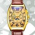 SEWOR Mens 2019 Moda Magic Mirror Relógio Tonneau Tourbillon Pulseira de Couro Mecânico Automático do Relógio Dos Homens Relógio Do Esporte