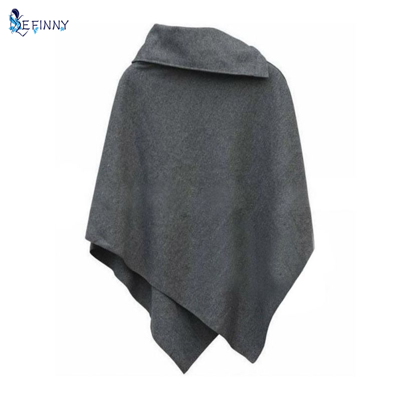 Women Batwing Cloak Coat Winter Irregular Jacket Loose Cloak Cape Parka