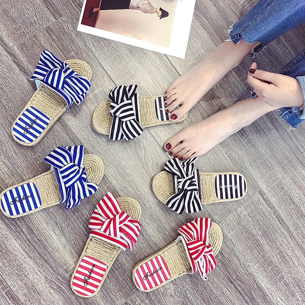 Zapatillas de verano 9798 para mujer de moda Chanclas de cáñamo para el hogar de interior