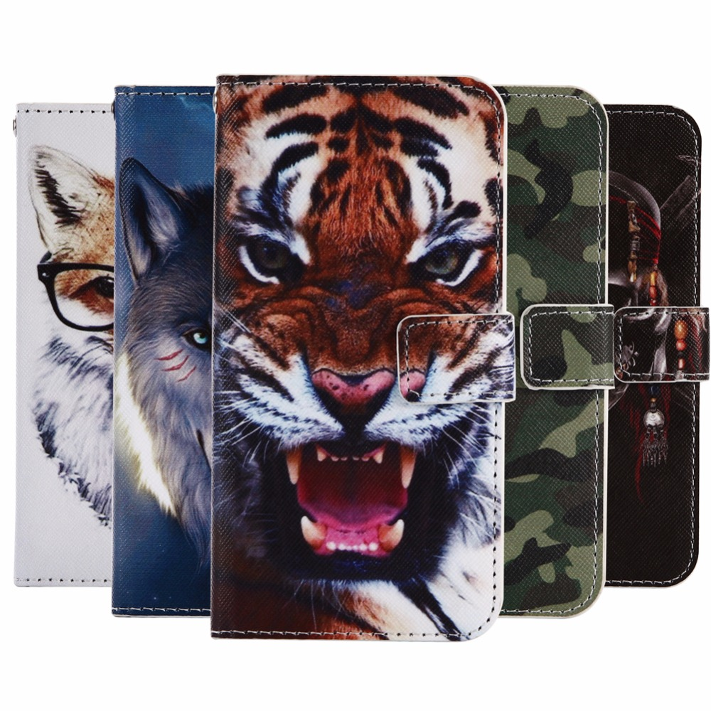 GUCOON Cartoon Wallet Case for Fly IQ4505 ERA Life 7 5.0 Fashion PU Leather Lovely Cool Cover Cellphone Bag Shield