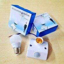 E27 Lamp Base AC180V-240V LED Lamp Bulb Base Infrared IR Sensor Automatic Wall Light Holder Socket PIR Motion Detector