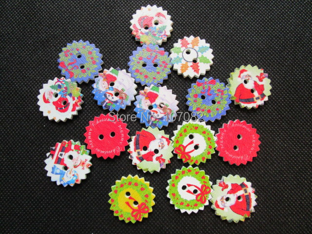 unids mm de madera botones decorativos de navidad ronda forma de engranaje number orificios