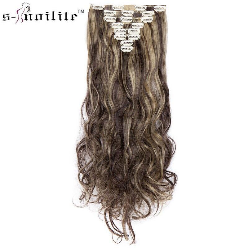 SNOILITE 24 colores 18 clips largo ondulado extensiones de cabello sintético Clip en extensiones de cabello para las mujeres 8 unids/set ombre pelo 24 pulgadas