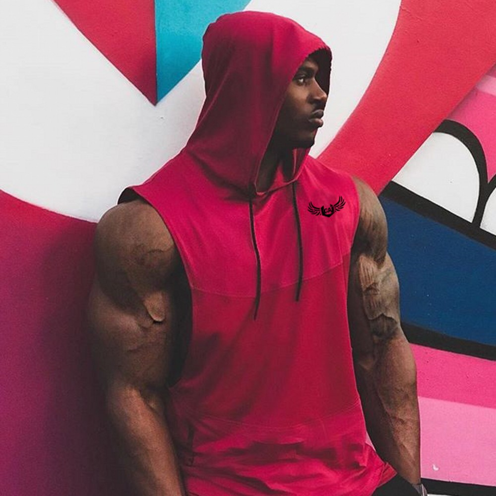 Brand Gyms Clothing Fitness Men Tank Top with hooded Mens Bodybuilding Stringers Tank Tops workout Singlet Sleeveless Shirt