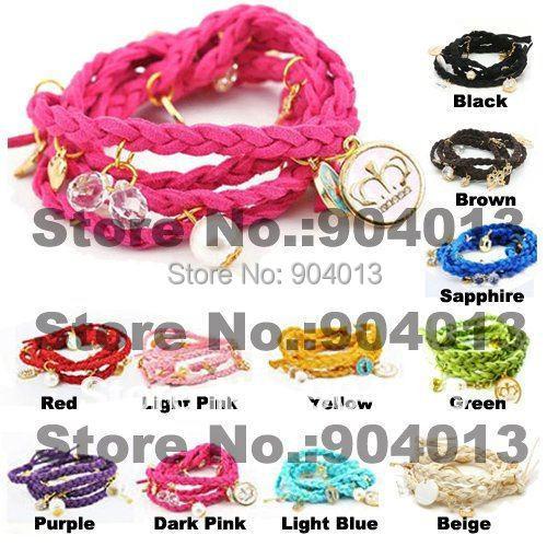 1pcs colorful mutilayer Wristband Braid Charm Bracelet Knit Bracelet jewelry with charms