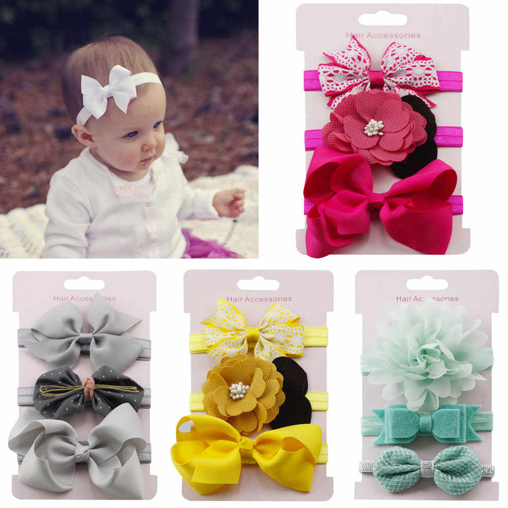 3 uds. Diadema elástica Floral para niños niñas bebé lazo diadema Set peluquería Linda banda Kwaii 2019 accesorios de cabello para chica banda para niño
