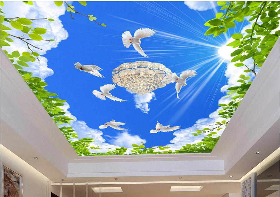 Custom 3d ceiling murals wallpaper Blue sky green leaves 3d wallpaper for ceiling for living room non-woven ceiling murals mural wallpaper 3d home decoration cherry trees 3d wallpaper living room ceiling non woven wallpaper ceiling
