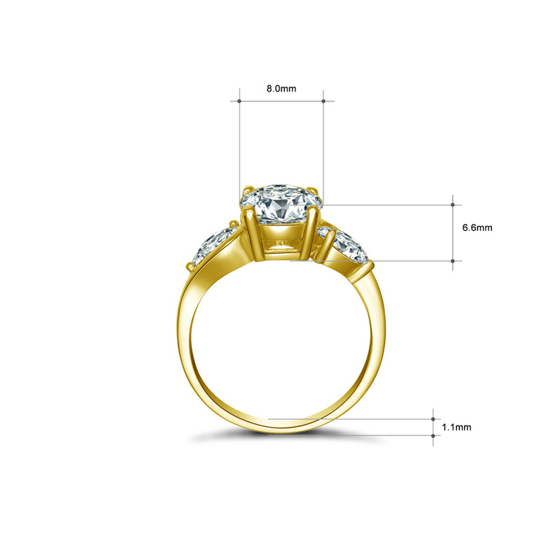 AINUOSHI Luxus 3 Stein Runde Ring 14K Solide Gelb Gold Band Brilliant Birne Cut Simulierten Frauen Hochzeit ring-in Ringe aus Schmuck und Accessoires bei  Gruppe 2
