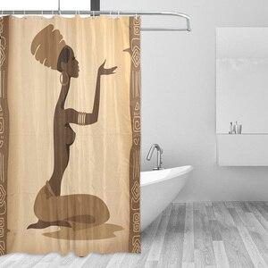 Image 2 - Ekologiczne afrykańskie kobiety zasłony prysznicowe wodoodporna kurtyna kąpielowa z tkaniny poliestrowej do łazienki z 12 hakami Home Decor