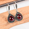 925 Silver Black Agate Earring Women Synthetic Garnet MARCASITE S925 Thai Silver boucle d'oreille Drop Earrings