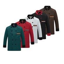 Erkekler uzun kollu şef ceketi otel hizmeti iş elbisesi restoran mutfak çalışma takım şef üniforma pişirme kıyafetleri kadın 89
