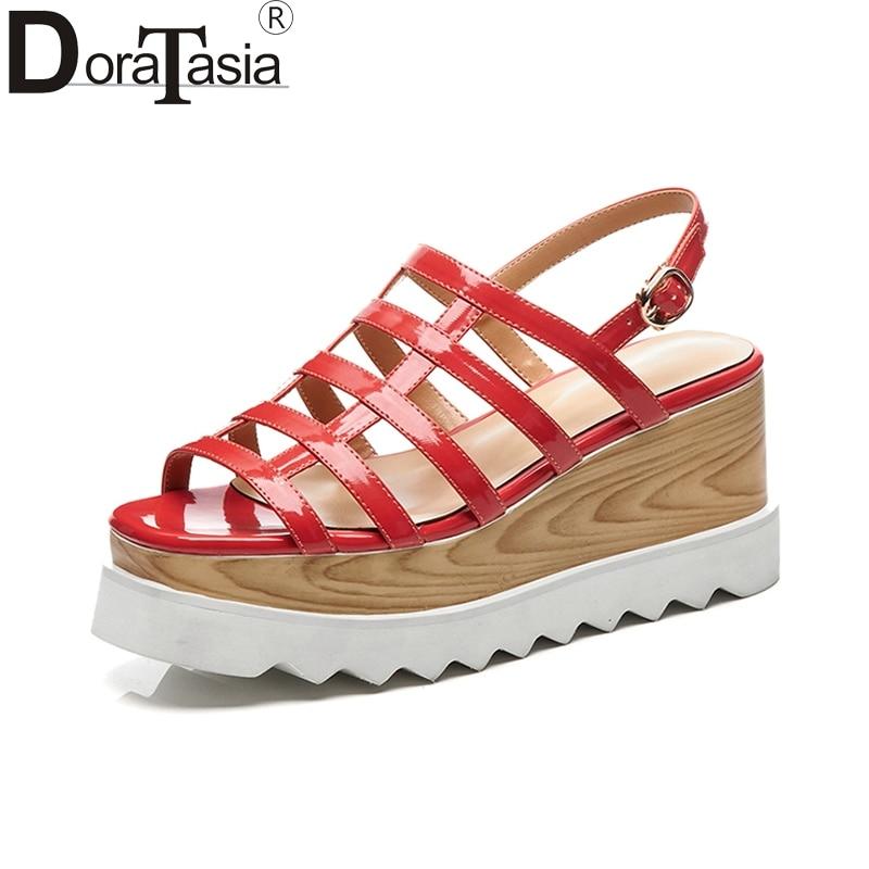 42 Charol Verde Zapatos Mujer Calidad Holoow Superior Cuña Size33 De 5ALR4j
