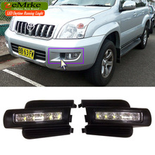 eeMrke LED Daytime Running Lights For Toyota Land Cruiser Prado 2002-2009 White DRL Light Fog Lamp Cover Kits