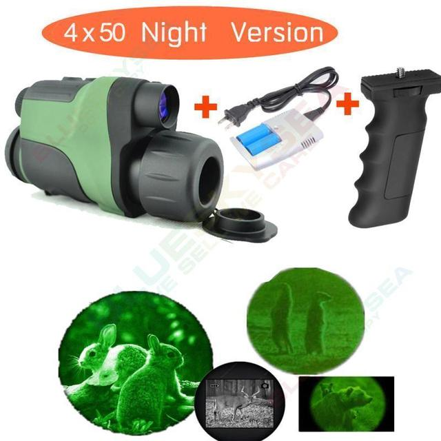 Cheap Free shipping!4x50 Infrared IR Night Vision IR Trail Monocular Telescope + 2xBattery + Charger + Handheld Bar
