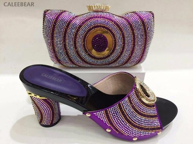 Italienische Schuhe Mit Passenden Taschen Set Italien Afrikanische frauen  Party Schuhe und Tasche Sets Lila Farbe a84b8f14f8