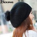 Мода настоящее шерсти осень и зима черный мех кролика шляпа вязаные теплые зимние шапки для женщин берет pom pom hat