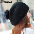 [Dexing]fashion real wool autumn and winter black rabbit fur hat knitted warm winter hats for women  beret pom pom  hat