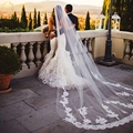 2015 New White/Ivory Appliqued Mantilla velos de novia Wedding Veil Long With Comb Wedding Accessories MD2003